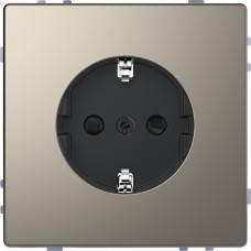 Розетка силова 2К+З, 16А, 250В, безгвинт.затиск, зі шторками, Нікель, метал, D-Life Merten MTN2300-6050