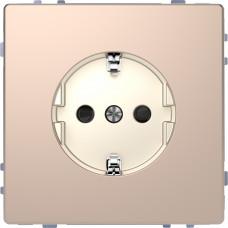 Розетка силовая 2К+З, 16А, 250В, безвинт.зажим, со шторками, Шампань, металл, D-Life Merten MTN2300-6051