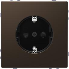 Розетка силовая 2К+З, 16А, 250В, безвинт.зажим, со шторками, Мокко, металл, D-Life Merten MTN2300-6052