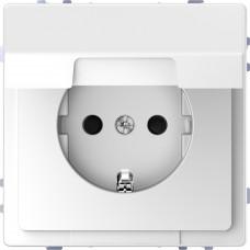 Розетка силовая с крышкой 2К+З, 16А, 250В, безвинт.зажим, со шторками, Белый лотос, пластик, D-Life Merten MTN2310-6035