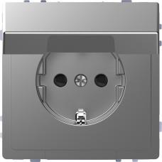 Розетка силова з кришкою 2К+З, 16А, 250В, безгвинт.затиск, зі шторками, Нержавіючая сталь, пластик, D-Life Merten MTN2310-6036