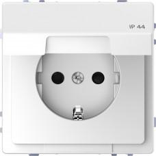 Розетка силовая IP44 с крышкой 2К+З, 16А, 250В, безвинт.зажим, со шторками, Белый лотос, пластик, D-Life Merten MTN2314-6035