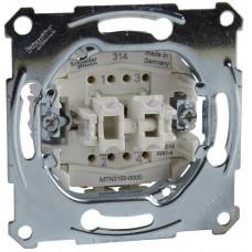 Кнопочный выключатель двухклавишный, механизм, D-Life Merten MTN3155-0000