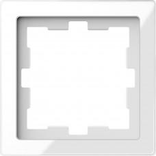 Рамка 1 постова, Білий кристал, скло, D-Life Merten MTN4010-6520