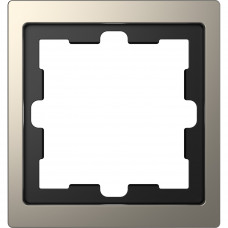 Рамка 1 постовая, Никель, металл, D-Life Merten MTN4010-6550