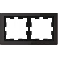 Рамка 2 постова, Чорний онікс, скло, D-Life Merten MTN4020-6503