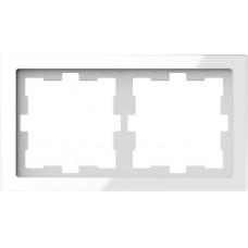 Рамка 2 постова, Білий кристал, скло, D-Life Merten MTN4020-6520