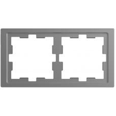 Рамка 2 постова, Нержавіючая сталь, пластик, D-Life Merten MTN4020-6536