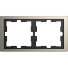Рамка 2 постовая, Никель, металл, D-Life Merten MTN4020-6550