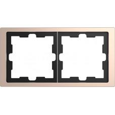 Рамка 2 постовая, Шампань, металл, D-Life Merten MTN4020-6551