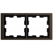 Рамка 2 постовая, Мокко, металл, D-Life Merten MTN4020-6552