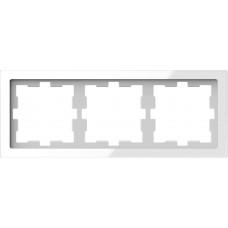 Рамка 3 постова, Білий кристал, скло, D-Life Merten MTN4030-6520