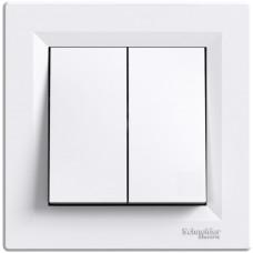 Выключатель двухклавишный, Белый, Asfora EPH0300121
