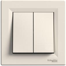 Выключатель двухклавишный, Кремовый, Asfora EPH0300123