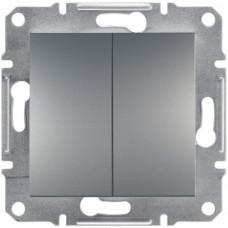 Выключатель двухклавишный, Сталь Asfora, EPH0300162