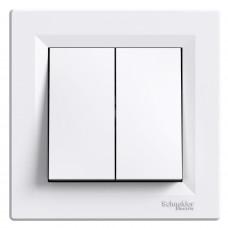 Выключатель проходной двухклавишный, Белый, Asfora EPH0600121