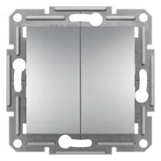 Выключатель проходной двухклавишный, Алюминий Asfora, EPH0600161