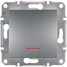Выключатель одноклавишный с подсветкой, Сталь Asfora, EPH1400162
