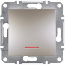 Выключатель одноклавишный с подсветкой, Бронза Asfora, EPH1400169