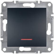 Выключатель одноклавишный с подсветкой, Антрацит Asfora, EPH1400171