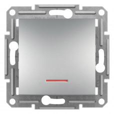 Выключатель одноклавишный проходной с подсветкой, Алюминий Asfora, EPH1500161