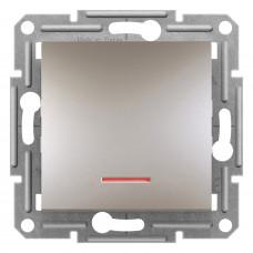 Выключатель одноклавишный проходной с подсветкой, Бронза Asfora, EPH1500169