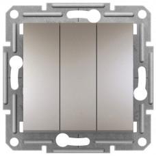 Выключатель трехклавишный, Бронза, Asfora EPH2100169
