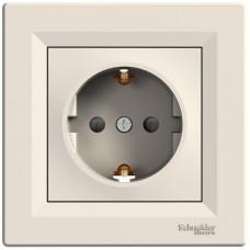 Розетка с заземлением, с защитными шторками Кремовая, Asfora EPH2900223