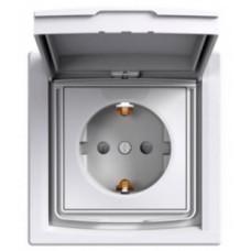 Розетка с заземлением, с крышкой и шторками, IP44, Белая, Asfora EPH3100321