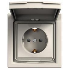 Розетка с заземлением, с крышкой и шторками, IP44, Кремовая, Asfora EPH3100323