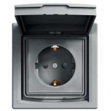 Розетка с заземлением, с крышкой и шторками IP44, Алюминий Asfora, EPH3100361