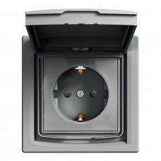 Розетка с заземлением, с крышкой и шторками IP44, Сталь Asfora, EPH3100362