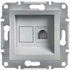 Розетка телефонна, RJ11, 4 контакти, Алюміній, Asfora, EPH4100161