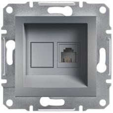 Розетка телефонна, RJ11, 4 контакти, Сталь, Asfora, EPH4100162