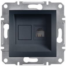 Розетка телефонна, RJ11, 4 контакти, Антрацит, Asfora, EPH4100171