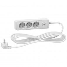 Подовжувач на 3 розетки, кабель 5 метрів, білий, Schneider Electric ST9435W