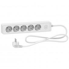 Удлинитель на 5 розеток, кабель 1,5 метра, белый, Schneider Electric ST9451W