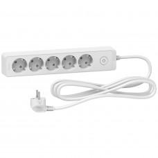 Удлинитель на 5 розеток, кабель 3 метра, белый, Schneider Electric ST9453W