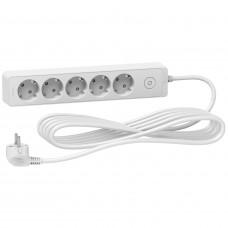 Подовжувач на 5 розеток, кабель 5 метрів, білий, Schneider Electric ST9455W