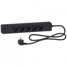 Удлинитель на 5 розеток + 2хUSB 2.4А, кабель 1,5 метра, черный, Schneider Electric ST945U1B