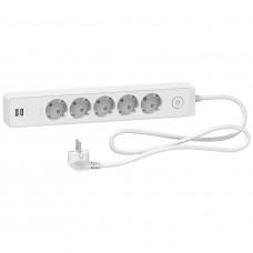 Удлинитель на 5 розеток + 2хUSB 2.4А, кабель 1,5 метра, белый, Schneider Electric ST945U1W