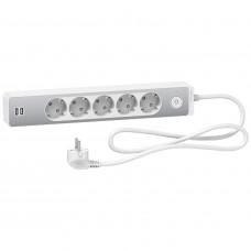 Удлинитель на 5 розеток + 2хUSB 2.4А, кабель 1,5 метра, белый+алюминий, Schneider Electric ST945U1WA