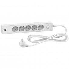 Подовжувач на 5 розеток + 2хUSB 2.4А, кабель 3 метри, білий, Schneider Electric ST945U3W