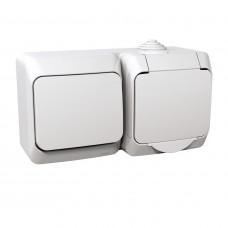 Розетка с заземляющим контактом + выключатель одноклавишный, Белая, Cedar Plus WDE000500
