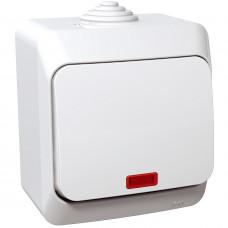 Вимикач одноклавішний з підсвіткою, Білий, Cedar Plus WDE000514