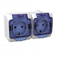 Розетка подвійна з заземлюючим контактом та шторками, прозора кришка, Біла, Cedar Plus WDE000525