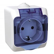 Розетка з заземлюючим контактом та шторками, Біла, Cedar Plus WDE000543