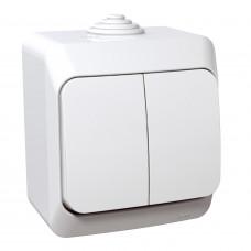 Выключатель двухклавишный, Белый, Cedar Plus WDE000550