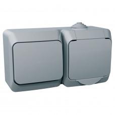 Розетка з заземлюючим контактом + вимикач одноклавішний, Сіра, Cedar Plus WDE000600