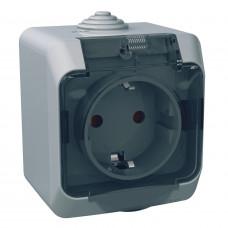 Розетка з заземлюючим контактом та шторками, Сіра, Cedar Plus WDE000643